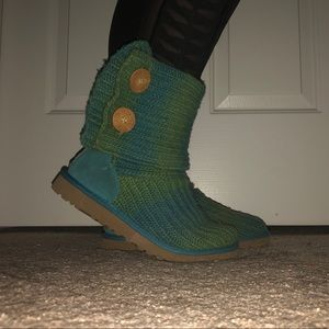 Teal and green crocheted UGGs